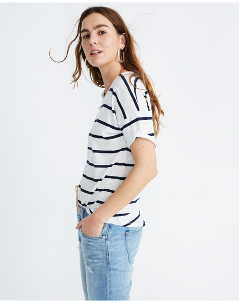 Whisper Cotton Crewneck Tee in Creston Stripe in peppy stripe bright ivory image 2