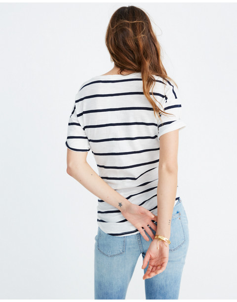 Whisper Cotton Crewneck Tee in Creston Stripe in peppy stripe bright ivory image 3