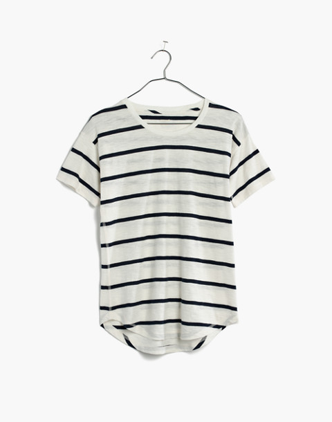 Whisper Cotton Crewneck Tee in Creston Stripe in peppy stripe bright ivory image 4