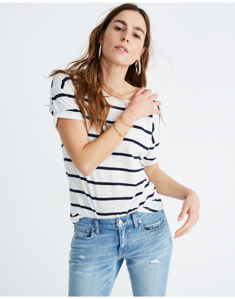 Whisper Cotton Crewneck Tee in Creston Stripe in peppy stripe bright ivory image 1