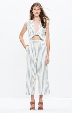 Tie-Front Culotte Jumpsuit in Ikat Stripe