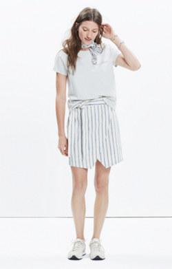 Portside Skirt in Ikat Stripe
