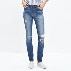 "Taller 9"" High-Rise Skinny Jeans: Rip and Repair Edition"