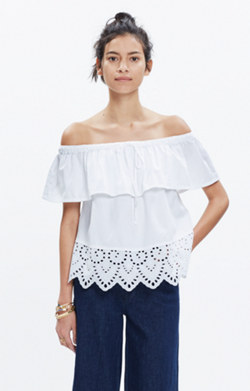 Eyelet Balcony Off-the-Shoulder Top