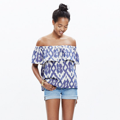Balcony Off-the-Shoulder Top in Ikat Print
