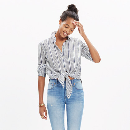 Striped tie front shirt allproducts madewell for Striped shirt with tie