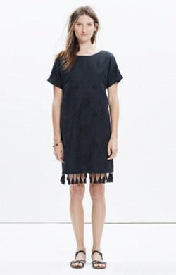 Embroidered Tassel Tee Dress