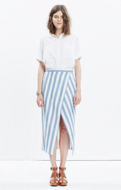 Striped Overlay Maxi Skirt