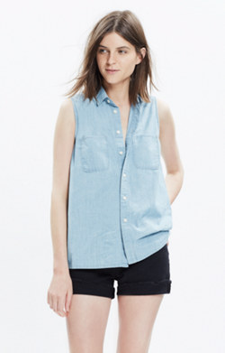 Chambray Sleeveless Shirt