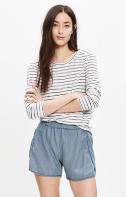 Pull-On Shorts in Railroad Stripe