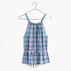 Rivet & Thread Plaid Tie Top