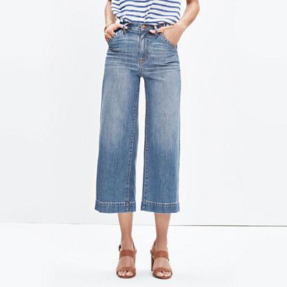 Wide-Leg Crop Jeans in Birdie Wash