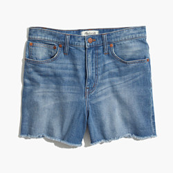 High-Rise Denim Boyshorts in Bo Wash