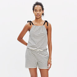 Tie-Shoulder Romper in Stripe