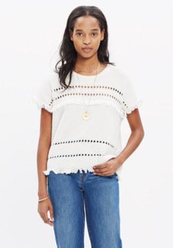 Short-Sleeve Fringe Sweater