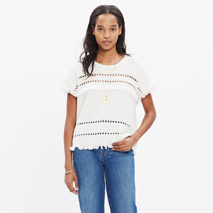Short-Sleeve Fringe Sweater