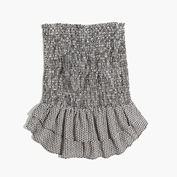 Silk Smocked Skirt in Triangle Field