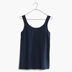 Silk Lookout Bow-Back Top in Deep Navy