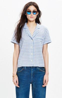 Gingham Piped Pajama Shirt