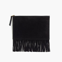 The Suede Fringed Pouch Clutch