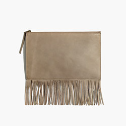 The Leather Fringe Pouch Clutch in Boulder