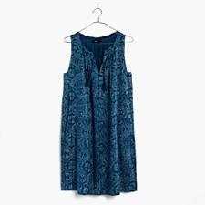 Indigo Print Shift Dress - WOOD PRINT