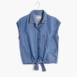 Denim Sleeveless Tie-Front Top
