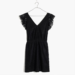 Lace Flutter-Sleeve Dress