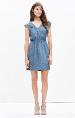 Lace Flutter-Sleeve Dress