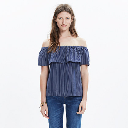 Silk Balcony Off-the-Shoulder Top in Stripe