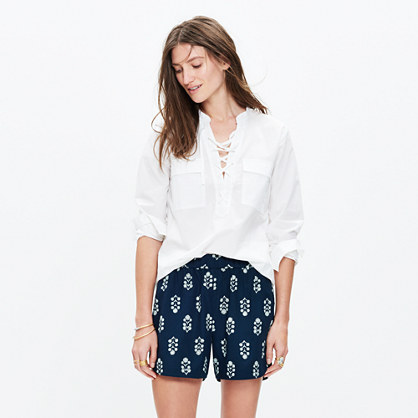 Drapey Pull-On Shorts in Vinefloral