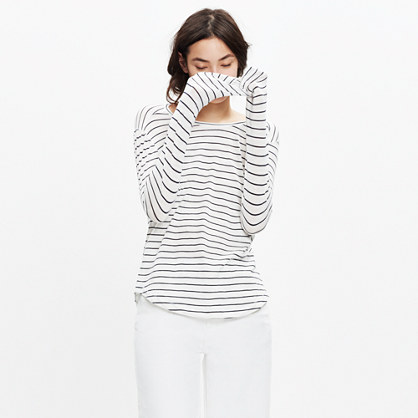 Whisper Cotton Long-Sleeve Crewneck Tee in Medora Stripe