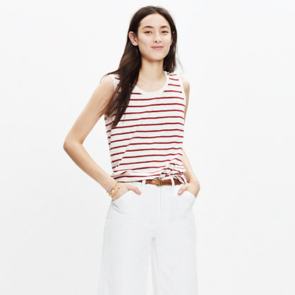 Whisper Cotton Crewneck Muscle Tank in Ashmore Stripe