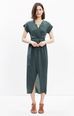 Silk Wrap-Front Maxi Dress