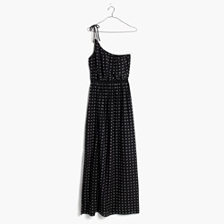 Silk Tie-Shoulder Maxi Dress in Scatterblock