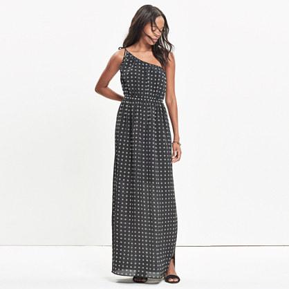 Silk Tie-Shoulder Maxi Dress in Scatterblock