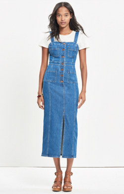 Denim Button-Front Midi Dress