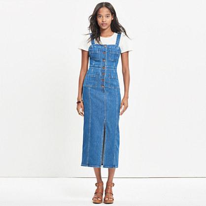 Denim Button-Front Midi Dress
