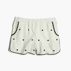Embroidered Pull-On Shorts