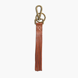 Leather Fringe Keychain in English Saddle