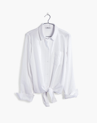 White Tie-Front Shirt