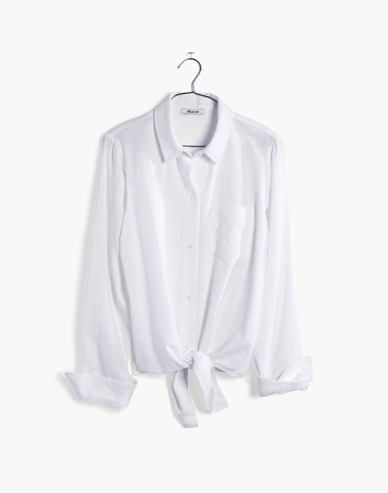 White Tie-Front Shirt in eyelet white image 4
