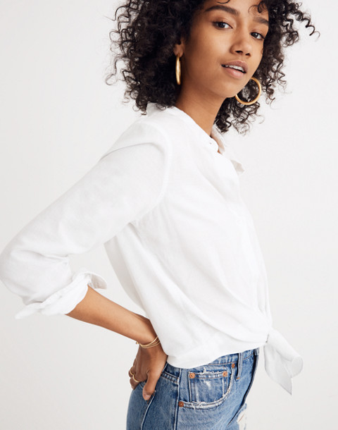 White Tie-Front Shirt in eyelet white image 1