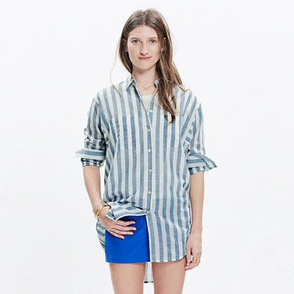 Oversized Button-Down Shirt in Major Stripe