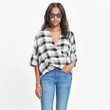 Courier Drape-Front Shirt in Check