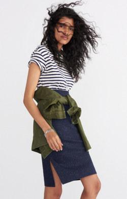 Column Side-Slit Skirt in Speckle