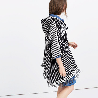 Striped Blanket Poncho