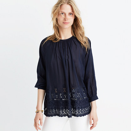 Eyelet-Edge Shirred Top