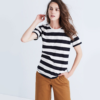 Whisper Cotton Crewneck Tee in Allendale Stripe