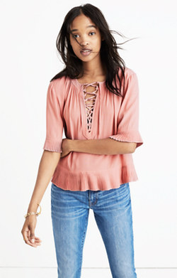Sunpleat Lace-Up Top